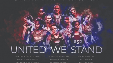 Commemorative US women's wrestling team poster for noble cause