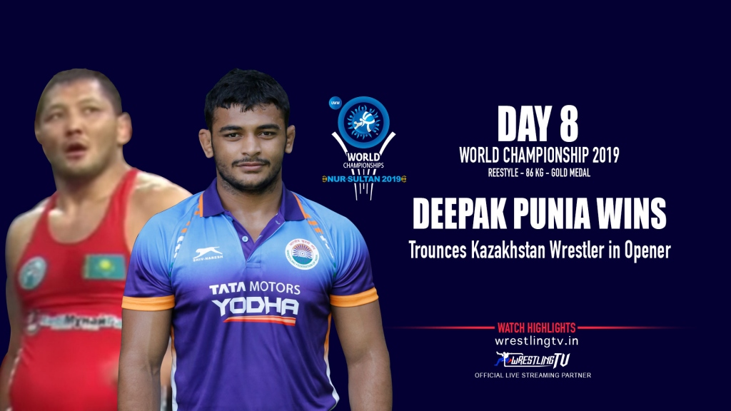 UWW World Championships 2019: Deepak Punia also starts the day with a convincing 8-6 victory