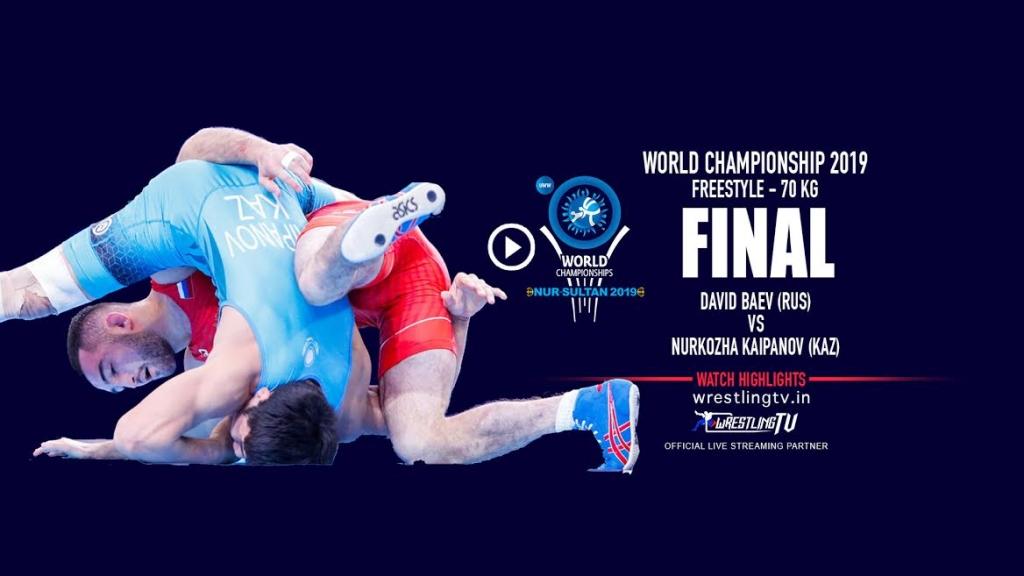 UWW World Championship 2019 Freestyle Final - 70 KG David BAEV (RUS) VS Nurkozha KAIPANOV (KAZ)