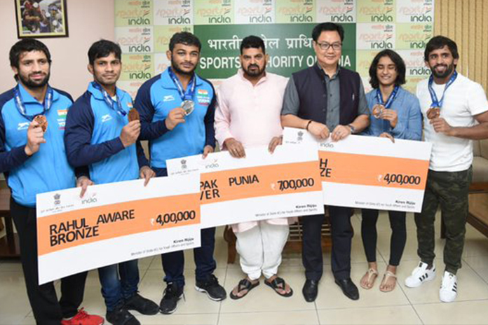 Wrestling World Championships: Rijiju honours medallists