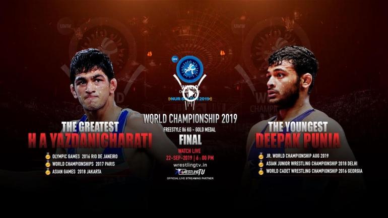 World Wrestling Championship final LIVE: Deepak Punia vs Hassan Aliazam