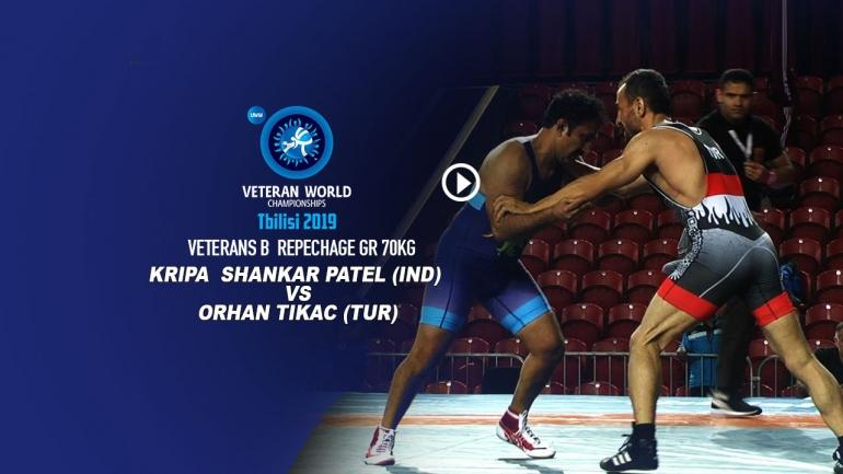 World Veteran championship Veterans-B Repechage GR 70Kg Kripa Shankar (IND) vs Orhas Tikac (TUR)