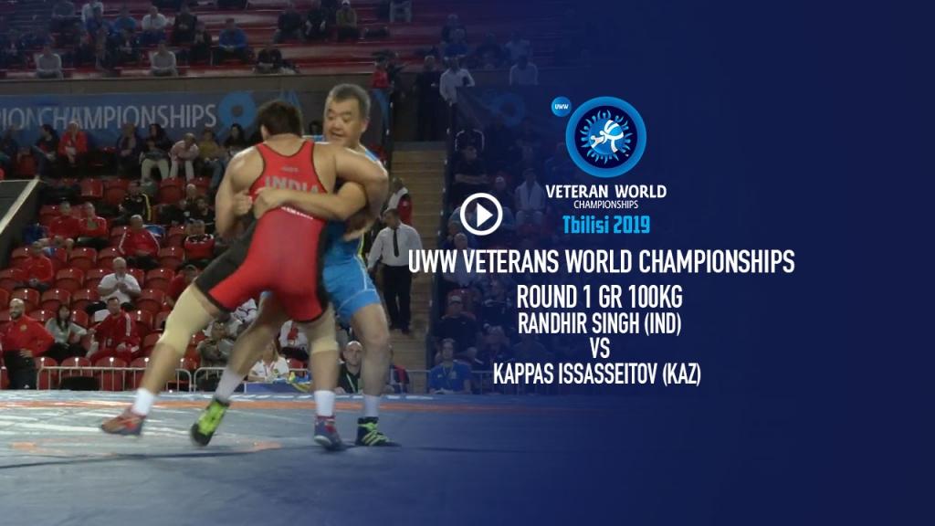 UWW Veteran World Championship 2019 Veterans C Round 1 GR 100 Kg Randhir Singh (IND) vs Kappas Issasseitov (KAZ)