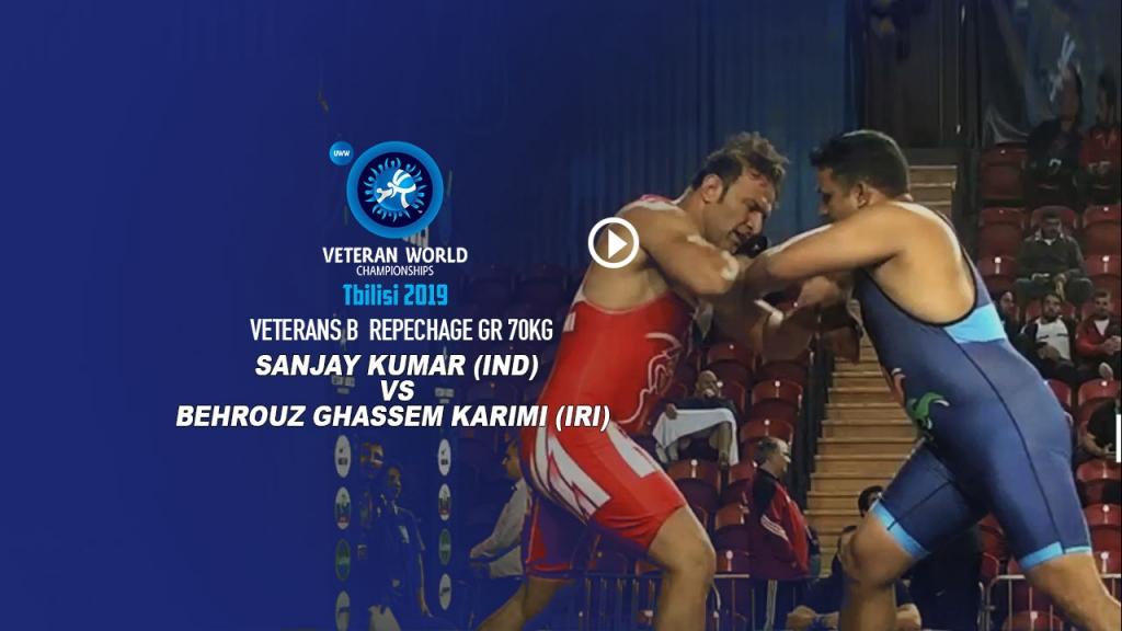 World Veteran championship Veterans-B Repechage GR 100Kg Sanjay Kumar (IND) vs Behrouz Karimi (IRI)
