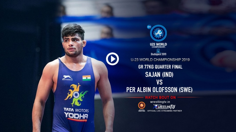 Sajan vs Olsson Last 8 match, the historic bout for Indian wrestling @ U23 World Wrestling Championships
