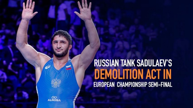 Russian Tank Sadulaev's demolition act in European World Championship semi-final