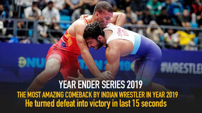 Most Amazing comeback by Indian Wrestler in Year 2019. He turned defeat into victory in last 15 sec