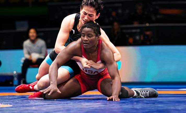 Check how this wrestling brave-heart from China won against the world champion Tamyra Mensah after being down 0-8