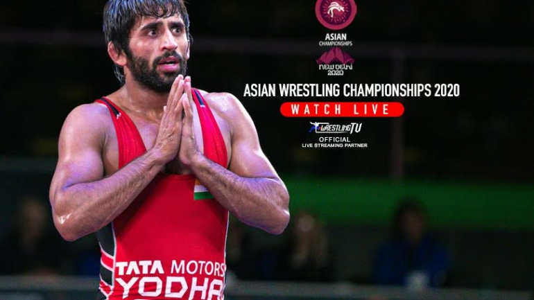Watch Bajrang Punia and other men wrestlers Live and Exclusive in Asian Championships only on WrestlingTV.in