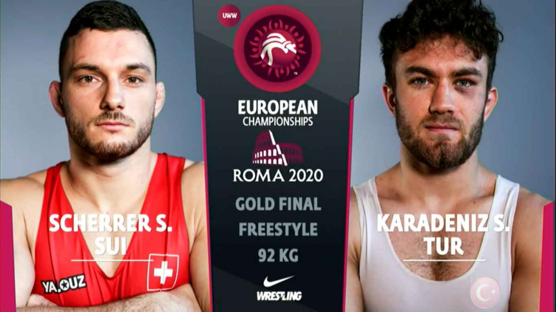 Watch European Wrestling Championship Final FS 92 kg – Suleyman (TUR) vs Samuel SCHERRER (SUI)
