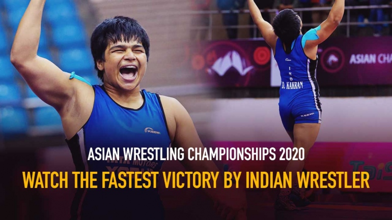 Watch the Fastest Victory by Indian Wrestler in Asian Wrestling Championships 2020