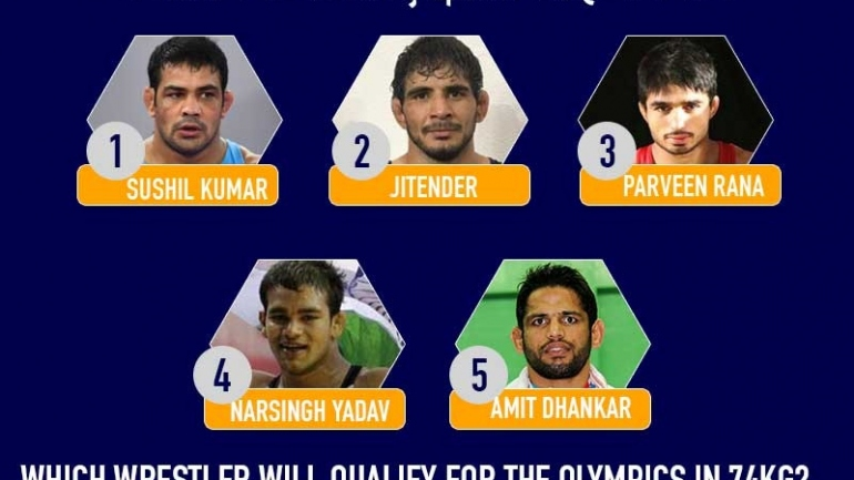 Which wrestler will qualify for the Olympics in 74kg?